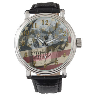Grungy Skull Over Vintage Style American Flag Watch