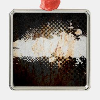 Grungy Splatter Design Silver-Colored Square Ornament
