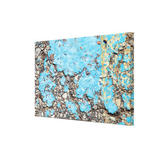 grungy turquoise paint on ashalt canvas print