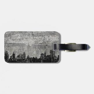 Grungy Urban City Scape Black White Luggage Tag