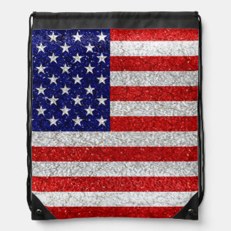 Grungy Usa Flag Drawstring Bag