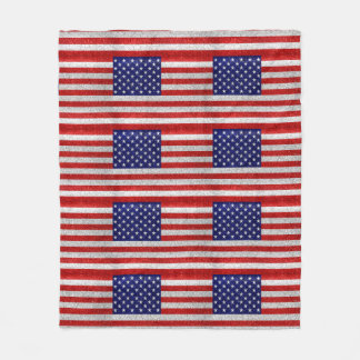 Grungy Usa Flag Fleece Blanket