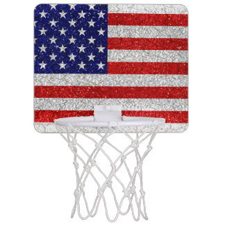Grungy Usa Flag Mini Basketball Hoop