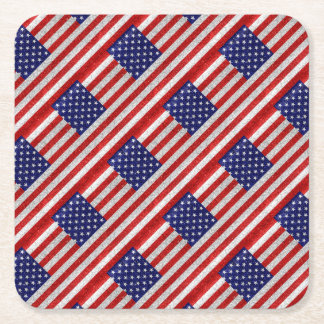 Grungy Usa Flag Square Paper Coaster