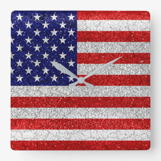 Grungy Usa Flag Square Wall Clock