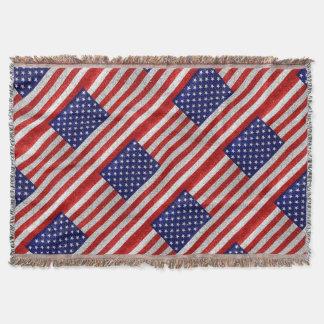 Grungy Usa Flag Throw Blanket
