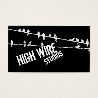 Grungy Wire & Birds Business Card