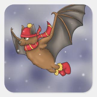 Gryffindor Inspired Winter Bat Square Sticker