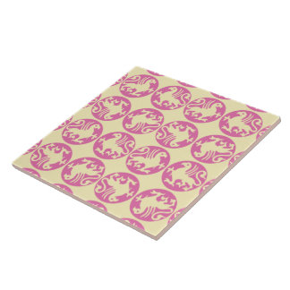 Gryphon Silhouette Pattern - Pink and Pale Yellow Ceramic Tile