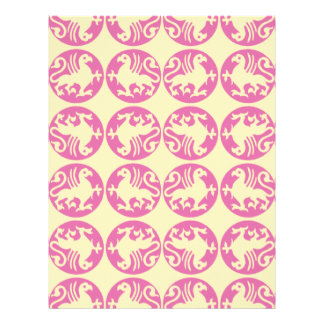 Gryphon Silhouette Pattern - Pink and Pale Yellow Letterhead