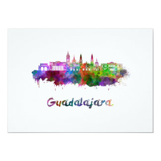 Guadalajara skyline in watercolor card