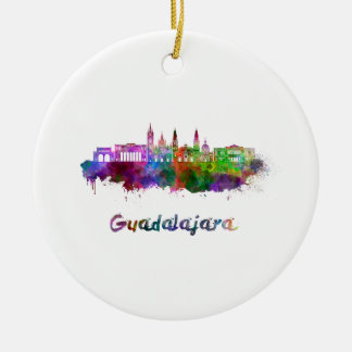 Guadalajara skyline in watercolor ceramic ornament