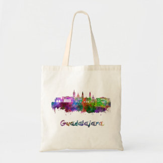 Guadalajara skyline in watercolor tote bag