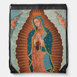 Guadalupe Orange Drawstring Backpack