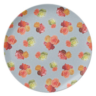 Guadalupe Rose melamine plate