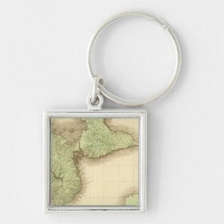 Guadeloupe Silver-Colored Square Keychain