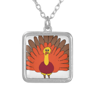 guajolote cartoon silver plated necklace