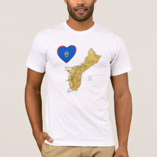 Guam Flag Heart and Map T-Shirt