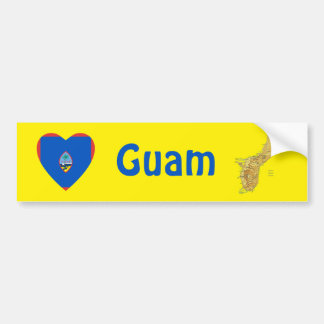Guam Flag Heart + Map Bumper Sticker