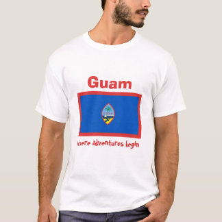 Guam Flag + Map + Text T-Shirt