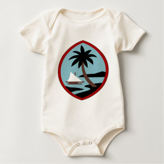 Guam Palm tree and beach peace calm joy Baby Bodysuit