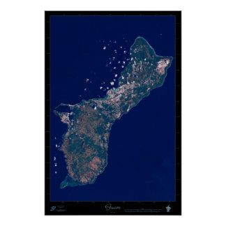 Guam satellite poster photo print map