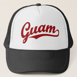 Guam script logo in red trucker hat