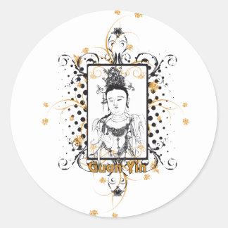 Guan Yin Bodhisattva Classic Round Sticker