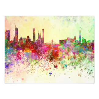 Guangzhou skyline in watercolor background photo print