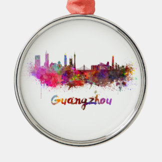 Guangzhou skyline in watercolor splatters Silver-Colored round ornament