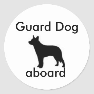Guard Dog Aboard Classic Round Sticker