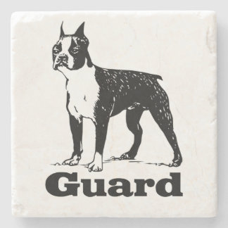 Guard Dog Boston Terrier Stone Beverage Coaster