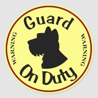 Guard Dog on DUTY Classic Round Sticker