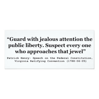 """Guard with Jealous Attention the Public LIBERTY 4"""" X 9.25"""" Invitation Card"""
