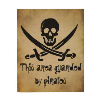 Guarded by Pirates Door Sign Wood Print