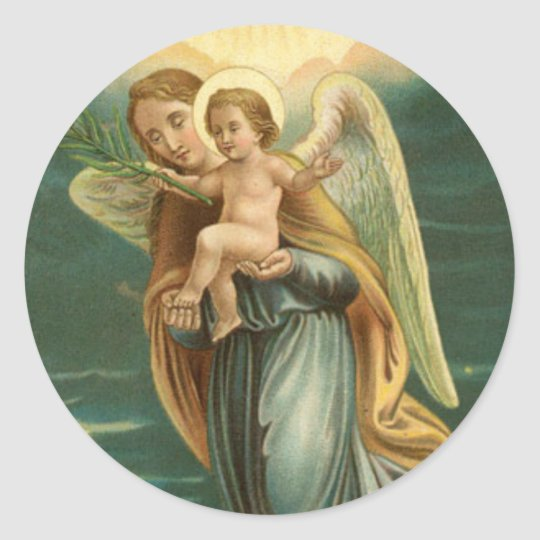 Guardian Angel And Baby Jesus Classic Round Sticker