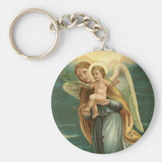 Guardian Angel And Baby Jesus Keychain