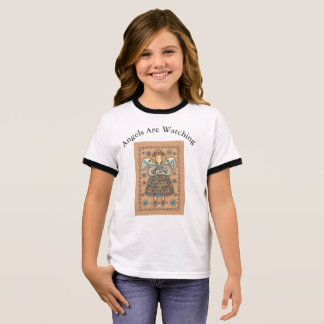 GUARDIAN ANGEL AND CAT RINGER T-SHIRT
