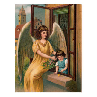 Guardian angel and girl at the window postcard