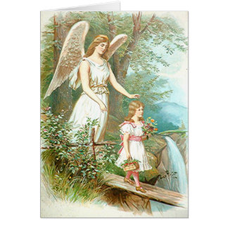 Guardian Angel And Girl Card