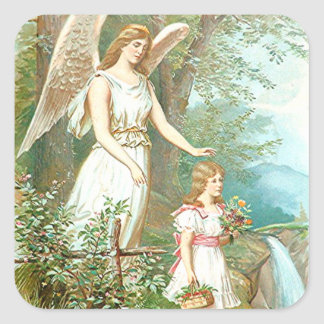 Guardian Angel And Girl Square Sticker