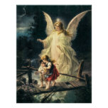 Guardian angel and two children on bridge poster