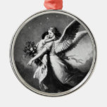Guardian Angel At Night Silver-Colored Round Ornament