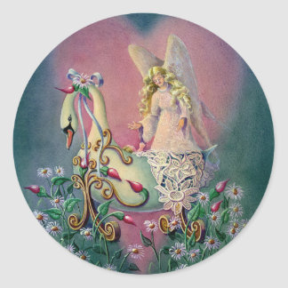 GUARDIAN ANGEL & BABY by SHARON SHARPE Classic Round Sticker