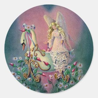 GUARDIAN ANGEL & BABY by SHARON SHARPE Round Sticker