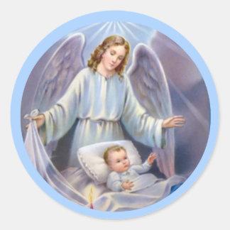 Guardian Angel boy baby candle heavens blue Round Sticker