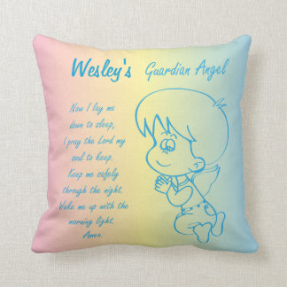 Guardian Angel Boy Prayer Throw Pillow