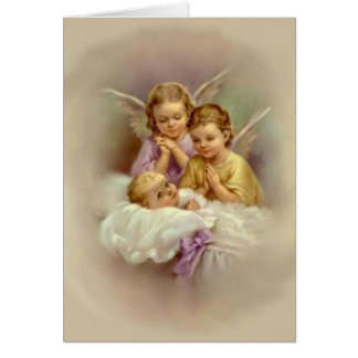 Guardian Angel Cherubs baby in Cloud Vintage Card