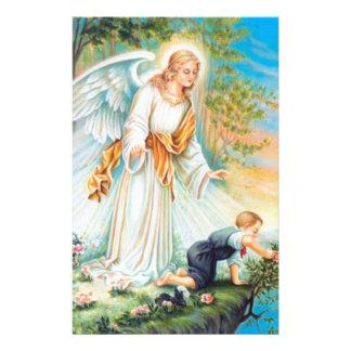 Guardian Angel Child Boy Flowers Stationery