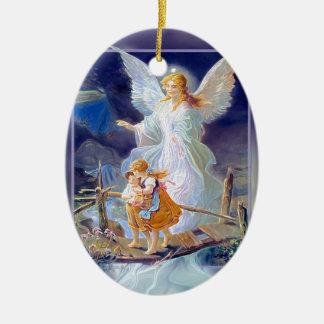 Guardian Angel, Children and Bridge Ceramic Ornament